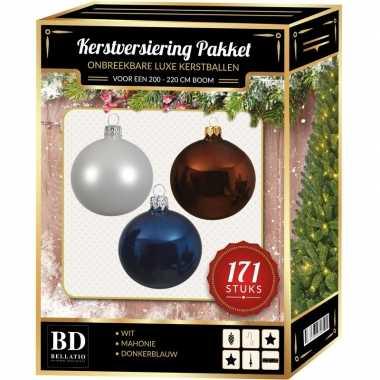 Kerstboom 171 stuks kerstballen mix wit-bruin-donkerblauw voor 210 cm boom versiering