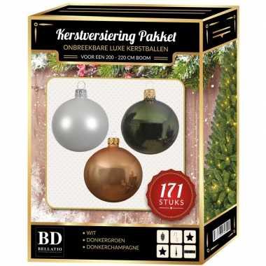 Kerstboom 171 stuks kerstballen mix wit-champagne-groen voor 210 cm boom versiering