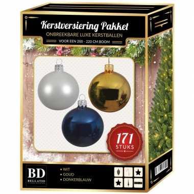 Kerstboom 171 stuks kerstballen mix wit-goud-donkerblauw voor 210 cm boom versiering