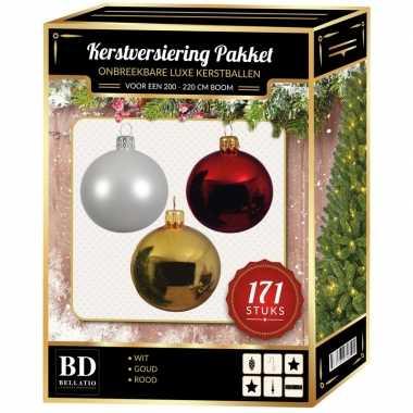 Kerstboom 171 stuks kerstballen mix wit-goud-rood voor 210 cm boom versiering