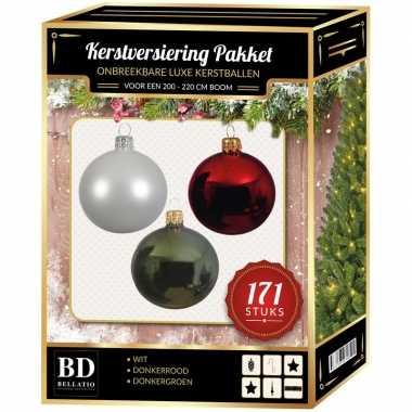 Kerstboom 171 stuks kerstballen mix wit-groen-donkerrood voor 210 cm boom versiering