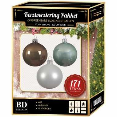 Kerstboom 171 stuks kerstballen mix wit-mint-bruin voor 210 cm boom versiering