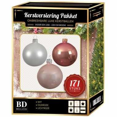 Kerstboom 171 stuks kerstballen mix wit-oudroze-lichtroze voor 210 cm boom versiering