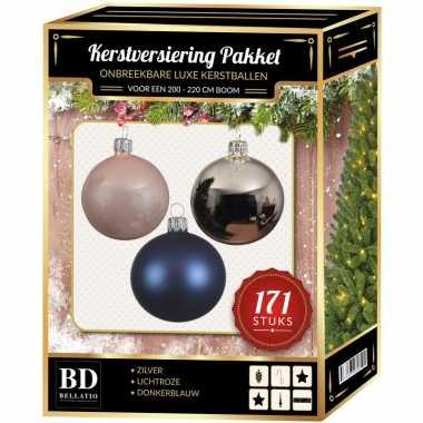 Kerstboom 171 stuks kerstballen mix zilver-roze-donkerblauw voor 210 cm bo versiering