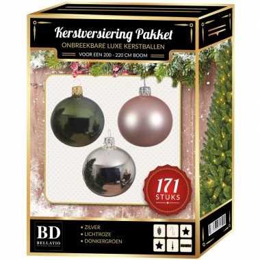 Kerstboom 171 stuks kerstballen mix zilver-roze-donkergroen voor 210 cm bo versiering