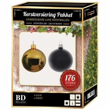 Kerstboom 176 stuks kerstballen mix goud-zwart voor 210 cm boom versiering