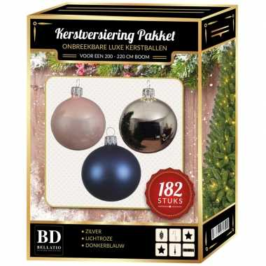 Kerstboom 182 st kerstballen mix zilver-roze-donkerblauw voor 210 cm boom versiering