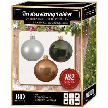 Kerstboom 182 stuks kerstballen mix wit-beige-groen voor 210 cm boom versiering