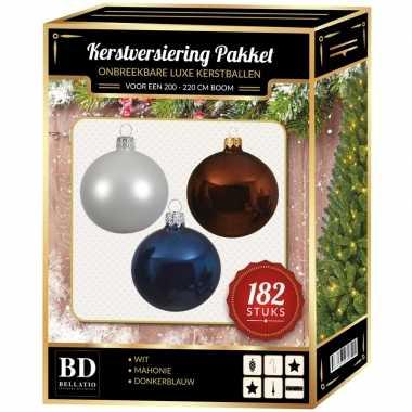 Kerstboom 182 stuks kerstballen mix wit-bruin-donkerblauw voor 210 cm boom versiering
