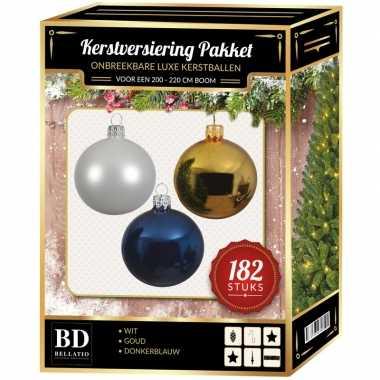 Kerstboom 182 stuks kerstballen mix wit-goud-donkerblauw voor 210 cm boom versiering