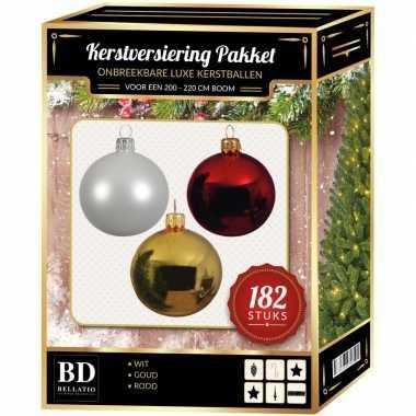 Kerstboom 182 stuks kerstballen mix wit-goud-rood voor 210 cm boom versiering