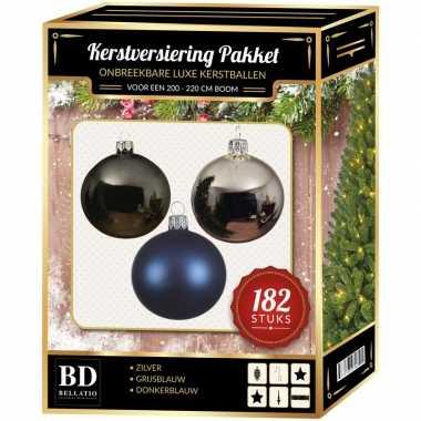 Kerstboom 182 stuks kerstballen mix zilver-grijs-donkerblauw voor 210 cm b versiering