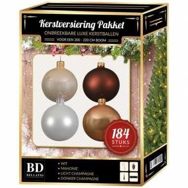 Kerstboom 184 stuks kerstballen mix champagne-wit-bruin voor 210 cm boom versiering