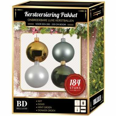 Kerstboom 184 stuks kerstballen mix wit-mint-goud-groen voor 210 cm boom versiering