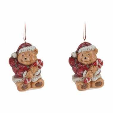 Kerstboom 2x kerstornamenten kerstbeer hanger 8 cm versiering
