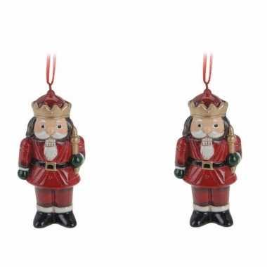 Kerstboom 4x kerstornamenten notenkraker hanger 8 cm versiering