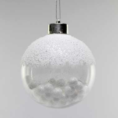 Kerstboom 4x witte kunststof kerstballen met sneeuwballetjes 8 cm versiering