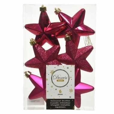 Kerstboom 6x bessen roze kunststof sterren kerstballen/ kersthangers 7 cm versiering