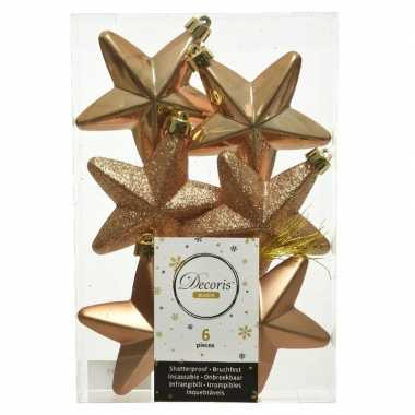 Kerstboom 6x camel bruine kunststof sterren kerstballen/ kersthangers 7 cm versiering
