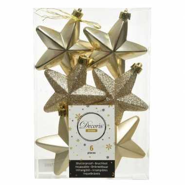 Kerstboom 6x champagne kunststof sterren kerstballen/ kersthangers 7 cm versiering