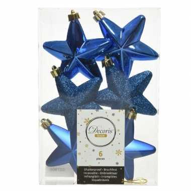 Kerstboom 6x kobalt blauwe kunststof sterren kerstballen/ kersthangers 7 cm versiering
