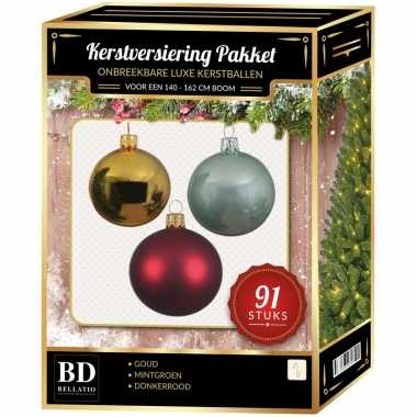 Kerstboom 91 stuks kerstballen mix goud-donkerrood-mint voor 150 cm boom versiering