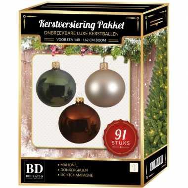 Kerstboom 91 stuks kerstballen mix parel-groen-mahonie voor 150 cm boom versiering