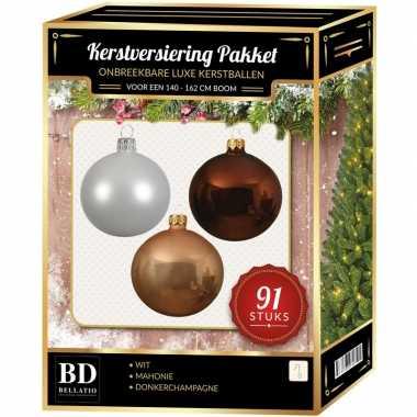 Kerstboom 91 stuks kerstballen mix wit-beige-mahonie voor 150 cm boom versiering