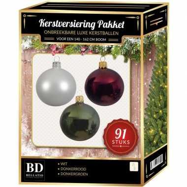Kerstboom 91 stuks kerstballen mix wit-donkerrood-groen voor 150 cm boom versiering