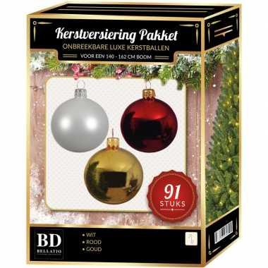 Kerstboom 91 stuks kerstballen mix wit-goud-kerst rood voor 150 cm boom versiering