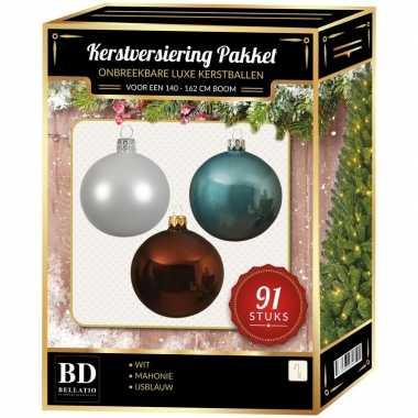 Kerstboom 91 stuks kerstballen mix wit-ijsblauw-mahonie voor 150 cm boom versiering