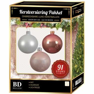 Kerstboom 91 stuks kerstballen mix wit-lichtroze-oud roze voor 150 cm boom versiering