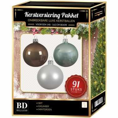 Kerstboom 91 stuks kerstballen mix wit-mintgroen-kasjmier voor 150 cm boom versiering