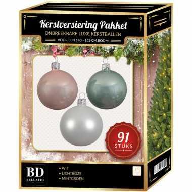 Kerstboom 91 stuks kerstballen mix wit-mintgroen-lichtroze voor 150cm boom versiering