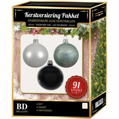 Kerstboom 91 stuks kerstballen mix wit-mintgroen-zwart voor 150 cm boom versiering
