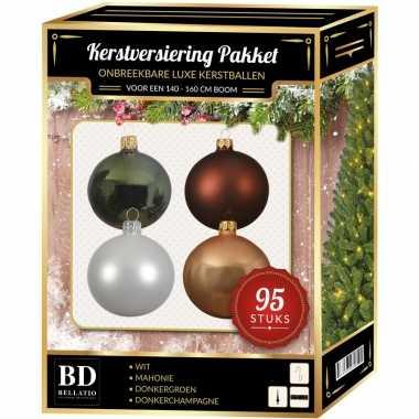 Kerstboom 95 stuks kerstballen mix wit/beige/groen/bruin voor 150 cm boom versiering
