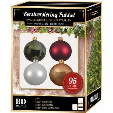 Kerstboom 95 stuks kerstballen mix wit-beige-groen-rood voor 150 cm boom versiering