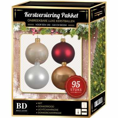 Kerstboom 95 stuks kerstballen mix wit-champagne-donkerrood 150 cm boom versiering