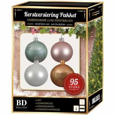 Kerstboom 95 stuks kerstballen mix wit-roze-mint-beige voor 150 cm boom versiering