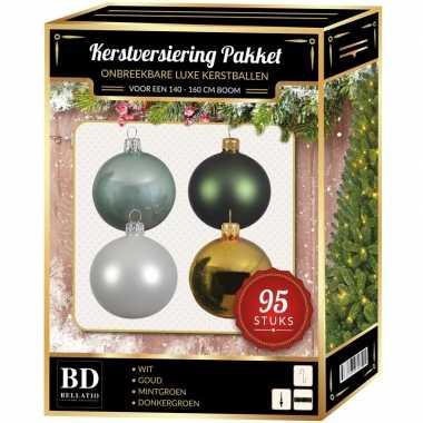 Kerstboom 95x kerstballen mix wit-mint-goud-donkergroen voor 150 cm boom versiering