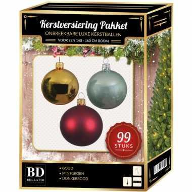 Kerstboom 99 stuks kerstballen mix goud-mint-donkerrood voor 150 cm boom versiering