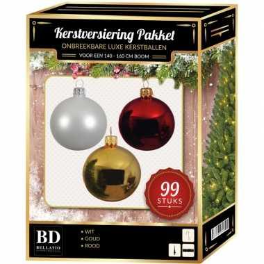 Kerstboom 99 stuks kerstballen mix wit-goud-rood voor 150 cm boom versiering