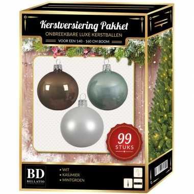 Kerstboom 99 stuks kerstballen mix wit-mint-bruin voor 150 cm boom versiering