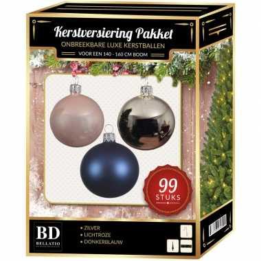 Kerstboom 99 stuks kerstballen mix zilver-lichtroze-blauw voor 150 cm boom versiering