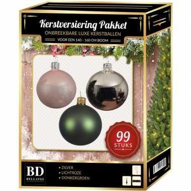 Kerstboom 99 stuks kerstballen mix zilver-lichtroze-groen voor 150 cm boom versiering