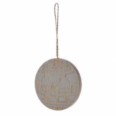 Kerstboom decoratie bal hanger hout/blauw 8 cm versiering