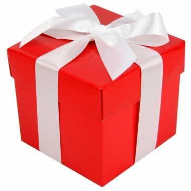 Kerstboom  Decoratie kado doosje rood 10 cm versiering