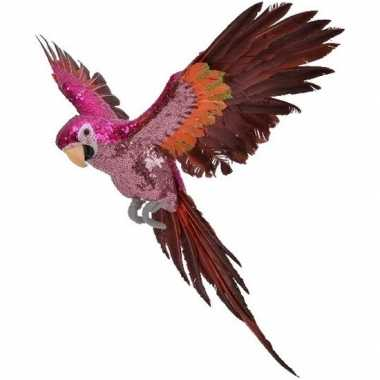 Kerstboom dierenbeeld roze/rode ara papegaai vogel 40 cm hangdecoratie versiering