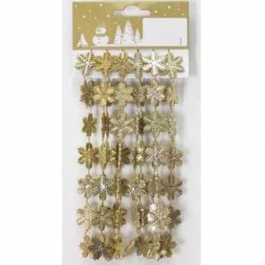 Kerstboom gouden sneeuwvlokken guirlandes/slinger 180 cm kerstversiering