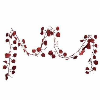 Kerstboom guirlandes / slingers met rode bladeren 200 cm versiering